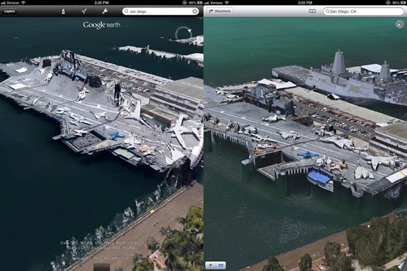 Google Earth vs. Apple's 3D Maps