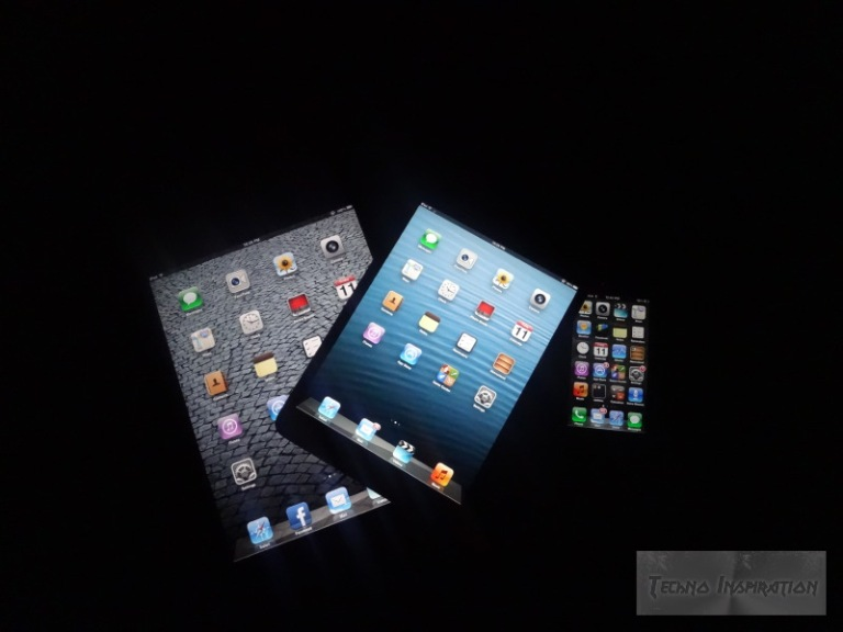 The iPad 2 (Left), the iPad Mini (Center) and the iPhone 5 (Right)