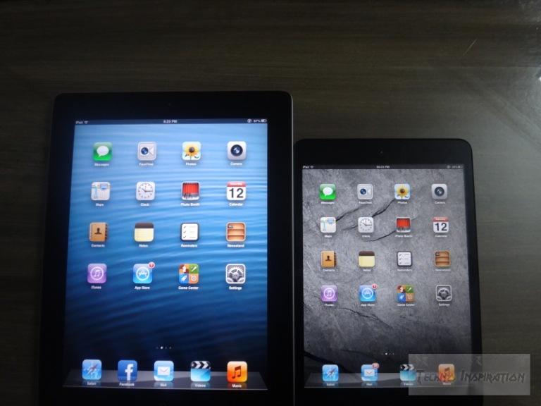 The iPad 2 (left) compared to the iPad Mini (right)