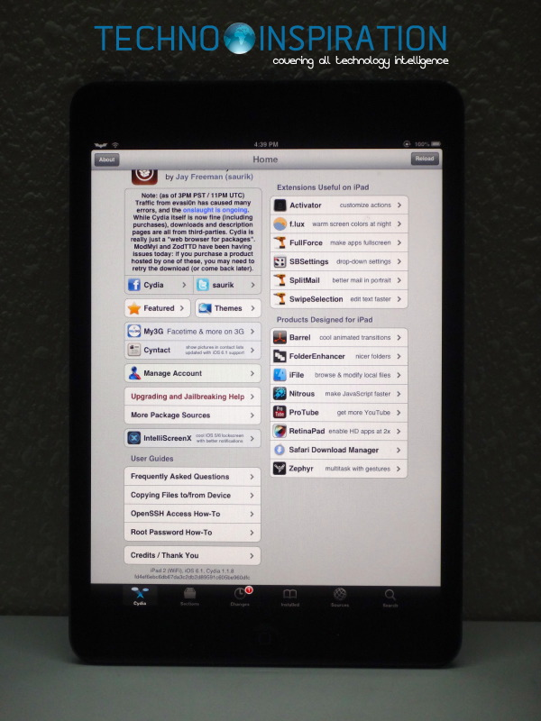 Our iPad Mini running Cydia