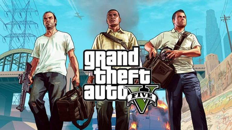 The three protagonists from Grand Theft Auto V: Michael, Trevor and Franklin