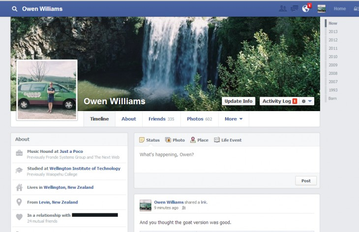 The new timeline design that has been rolled out to a few selected users in New Zealand